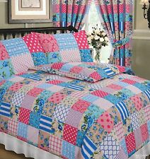 DOUBLE BED DUVET COVER SET PATCHWORK PINK BLUE FLORAL CREAM WHITE TARTAN SQUARES