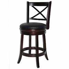 "Swivel Bar Stool 24"" Counter Height Furniture Modern Solid Wood Stools with Back"