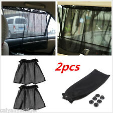 2x Car Auto Foldable Side Window Shades Mesh Sun Shades Suction Cups Anti-UV
