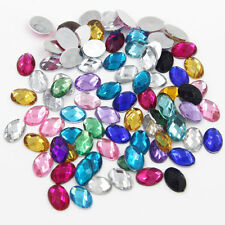Charming 100pcs Mixed Color Crystal Resin Oval Loose Rhinestone Flatback DIY