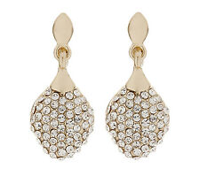 CLIP ON EARRINGS - gold plated drop earring with cubic zirconia stones - Agnes G