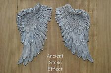 VINTAGE ANTIQUE SHABBY CHIC ANCIENT STONE EFFECT ANGEL WINGS WALL ART DECORATION