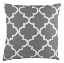 Grey Linen Geometric Design 18 inch Cushion Cover Tess