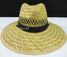 #AA Men Panama Garden Fishing Sun Pool Beach Bamboo Wide Large Brim Straw Hat