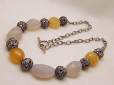 STONE FACETED NECKLACE WHITE ORANGE FILIGREE BEAD STELING TOGGLE ANCHOR CHAIN