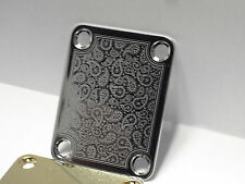 Chrome Paisley Engraved Guitar Neck Plate fits Fender tele/strat/squier