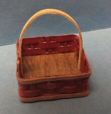 Dollhouse miniature 1:12 Al Chandronnait handcrafted signed red square basket
