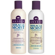DUO Aussie Miracle Moist Dry/Damaged Hair Shampoo 300ml + Conditioner 250ml