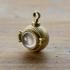 Magnifying Capsule Locket Pendant Glass Bubble Antique Bronze Hinged Locket