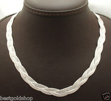 "18"" Reversible Triple Woven Herringbone Chain Necklace Real Sterling Silver 925"