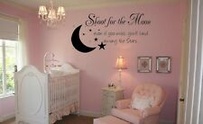 """SHOOT FOR THE MOON Words Vinyl Decal Wall Art Lettering Sticker Sticky  24"""""""