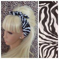 WHITE BLACK ZEBRA ANIMAL PRINT COTTON SQUARE BANDANA HEAD HAIR NECK SCARF RETRO