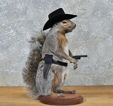 Cowboy Squirrel Taxidermy Animal Statue on Base Home or Office Gift