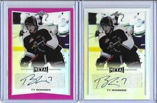 2015/16 Leaf Metal Ty Ronning Pink Prismatic Auto RC 1/10 NHL NY Rangers