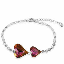 Sparkly Shiny Austria Crystal Clear Rinestone Silver Purple Pink Bracelet Bangle