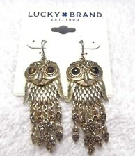 Lucky Brand Gold Owl Drop Design Earrings