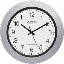 La Crosse 10 Inch Diameter Atomic Analog Indoor Wall Clock Silver Automatic DST