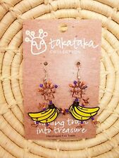 Recycled Dancing Girl Bananas Earrings new Fair Trade from Africa jedg83