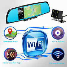 "7"" HD 1080P WiFi Bluetooth GPS Car DVR Dual Lens Camera Rearview Mirror UK STOCK"
