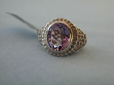 LOT 101 STUNNING AMETHYST + FRETWORK SOLID STERLING SILVER RING SIZE I 1/2