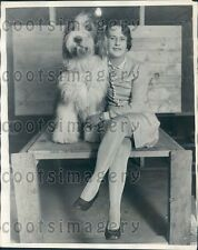 1928 Woman Poses With Scotch Shepherd Dog Highland Queen of Fironze Press Photo