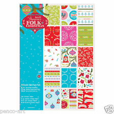 Papermania 32 sheets Linen scrapbooking paper pack A4 160gm Folk Christmas
