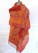 Fabulous Colors VTG Auth KASHMIR Hand-Woven Paisley Wool Shawl Wrap Scarf Throw