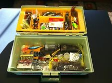 VERY NICE OLD VINTAGE REBEL 1 TRAY FISHING TACKLE BOX LOADED WITH LURES AND STUF