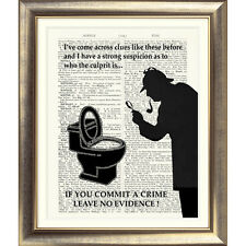 FUNNY TOILET SIGN 'SHERLOCK HOLMES' Art Print on Original Book Page Conan Doyle