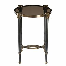 Elegant Black Gray Glass Round Accent Table | Brass Gold Side Pedestal