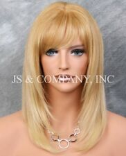 100% HUMAN HAIR NEW STRAIGHT Strawberry Blonde Mix WIG with  Bangs IHGP T27-613
