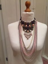 New Statement Necklace Oversize Bib Pink Grey Stones & Pearls