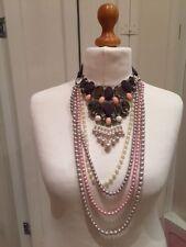 New Statement Necklace Oversize Bib Pink Grey Stones & Pearls