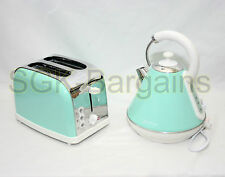 Green Matching Kitchen Set 1.8L Electric Cordles Kettle 2 Slice Bagel Toaster SF