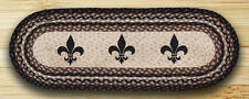 "FLEUR DE LIS 100% Natural Braided Jute Table Runner 13"" x 36"" Oval by Earth Rugs"