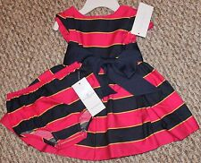 New! Baby Girls Ralph Lauren POLO 2 pc Party Dress Set(Pink/Blue) - Size 6 mo