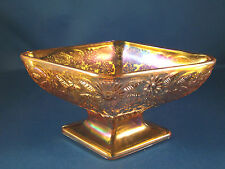 Amber Carnival Glass Bowl Dish Footed Compote Diamond Shape Indiana Glass @23