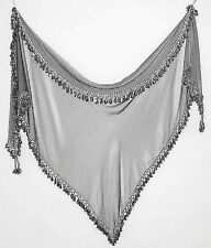 Hand-Beaded Scarf from Egypt, Silvery Gray with Dark Silver Beads, Item #701-2