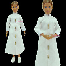White Printing Vintage Chinese Style Robe Outfit Clothes For Barbie BF Ken Doll