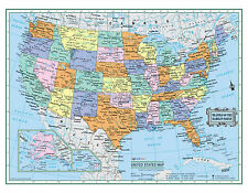 "2016 USA United States Wall Map 22""x17"" LARGE PRINT Laminated Personalized"
