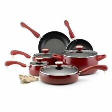NEW Paula Deen Signature Collection Red Speckle Porcelain Nonstick 15-piece Set