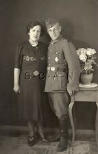 WWII German Army Large RPPC- Soldier- Uniform- Hat- Military Sports Badge- Frau
