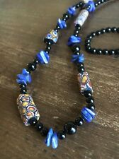 "Long OLD Venetian MILLEFIORI TRADE Bead Onyx Lapis NECKLACE 29""L  Mix"