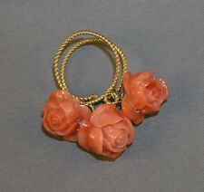 Gorgeous 1960's Ring - 14K Yellow Gold w/ 3 Carved Italian Coral Rose Dangles