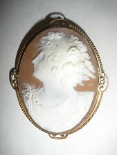 "Antique  Victorian large 2 1/4""  14K gold brooch cameo beauty"