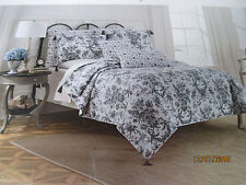 BITTERSWEET INN Dark Grey/Black & White Floral Toile King Quilt