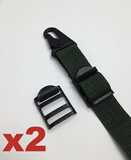 "Set of 2 Tactical 1"" Double Bar Ladder Lock Buckle Sling Rifle Attachment BLK"