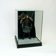 """1/6 Scale Comic Figurine Display Case 14"""" Tall All Glass Black Sport Moulding"""