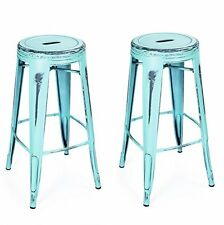 Vintage Metal Bar Stools Counter Barstool Seat Height Chair Kitchen Set of 2 NEW