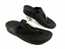 Women's FitFlop Flip Flop Black leather Chada  Sz 9